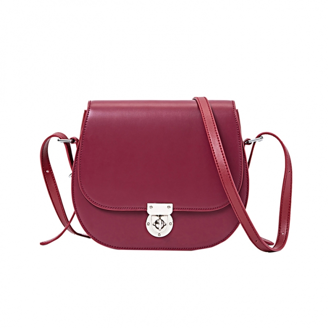 Wine Red Real Leather Crossbody Bags