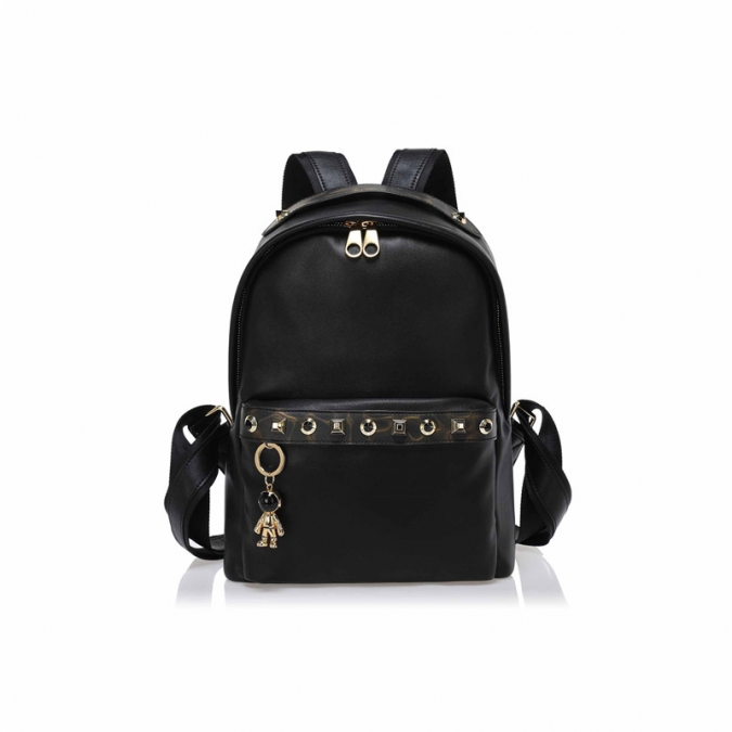 Large Ladies Black Leather Backpack