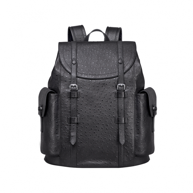 Ostrich embossed leather backpack